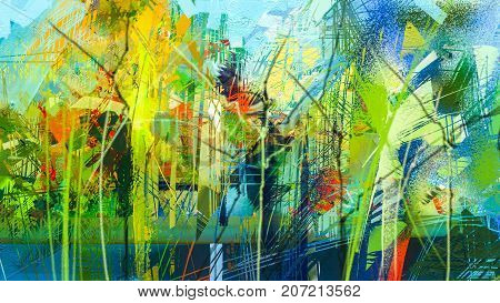 poster of Abstract colorful oil painting on canvas texture. Hand drawn brush stroke oil color paintings background. Modern art oil paintings with green red and blue. Abstract contemporary art for background