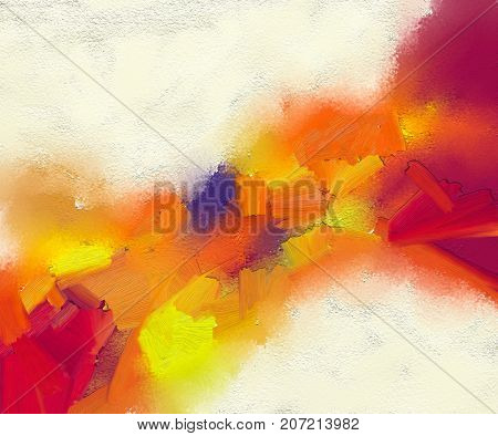 poster of Abstract colorful oil painting on canvas texture. Hand drawn brush stroke oil color paintings background. Modern art oil paintings with yellow red color. Abstract contemporary art for background