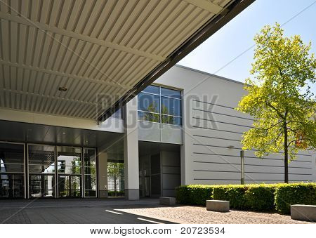 entrance glass doors in a modern office building