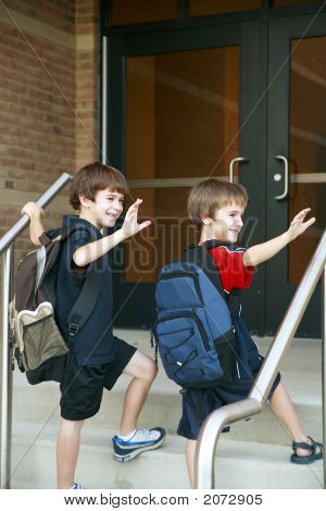 Boys Going Into School