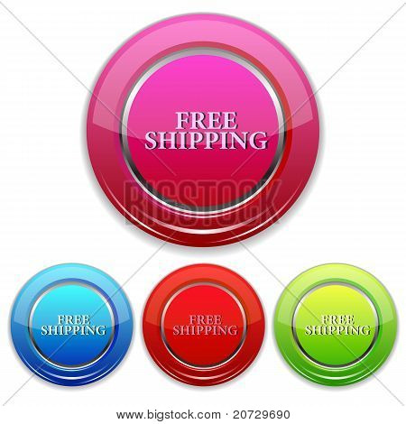 set of colorful free shipping icon
