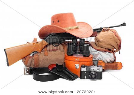 Vintage equipment for travel to tropical destination.