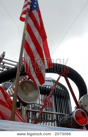 Flag And Firetruck
