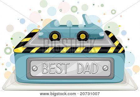 Illustration of a Cake with the Words Best Dad Written on it