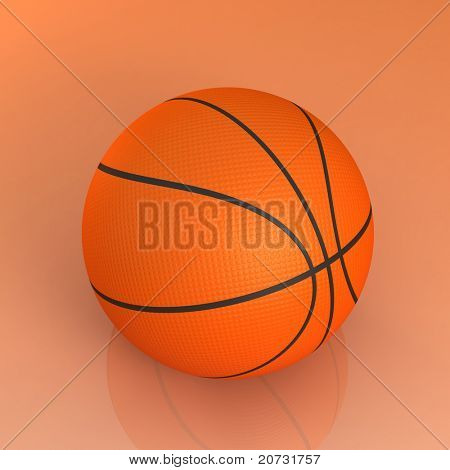 basketball ball isolated on glossy
