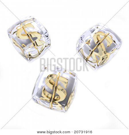frozen moneys isolated on white