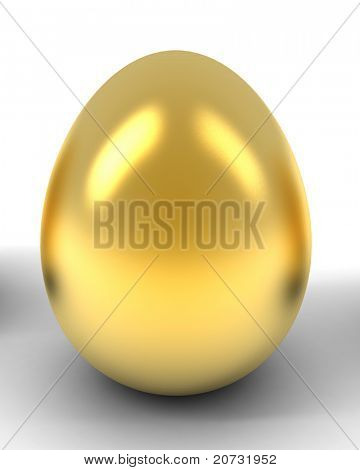 gold egg isolated on white