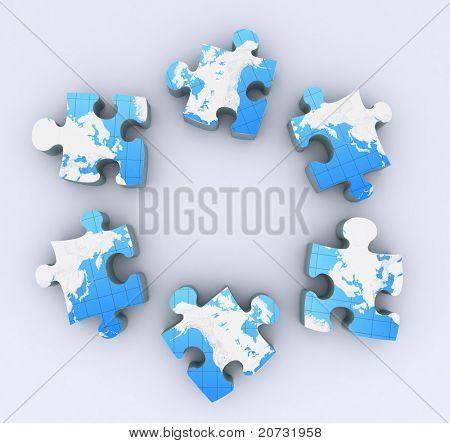 six puzzles on white background