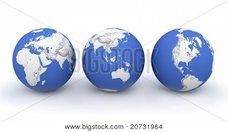 three planet earth on white