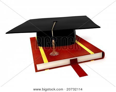 student cap on book