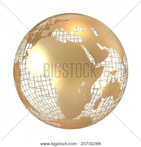 golden globe isolated on white
