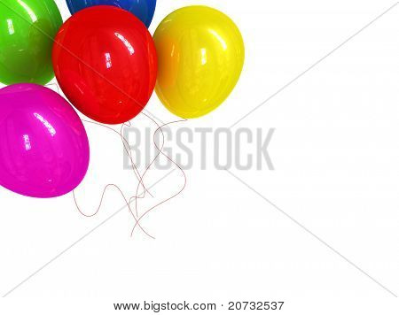 holidays card with ballons isolated on white