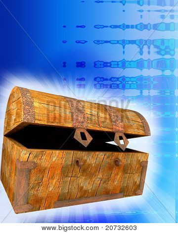 old chest on colored background with glow