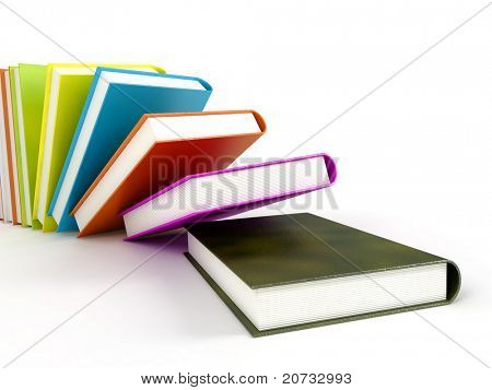 colored Books isolated on glossy White # 2