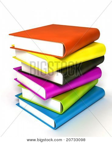 colored books massive isolated on white #4
