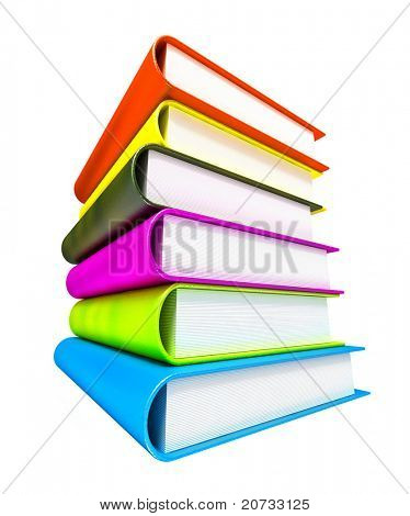 colored books massive isolated on white #3