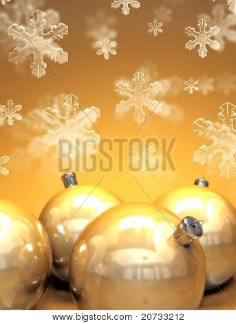 happy christmas background with gold balls
