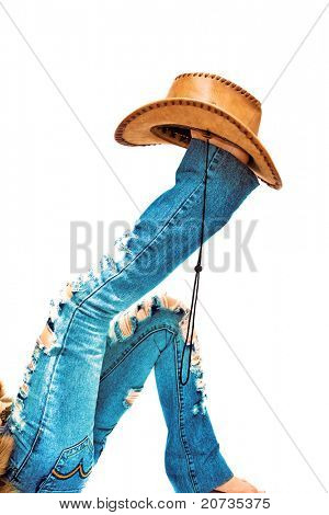 legs with hat on background