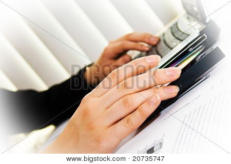 human hands and business laptop