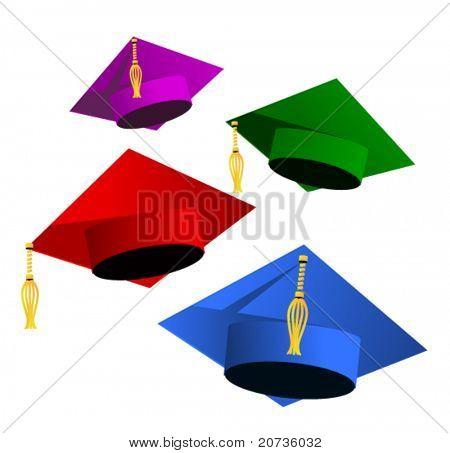 graduation hats on white. vector