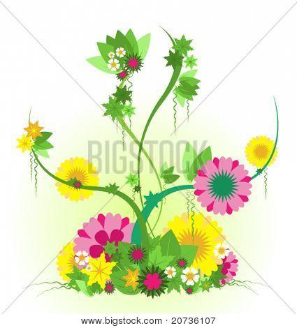 Jardín de vector con flores