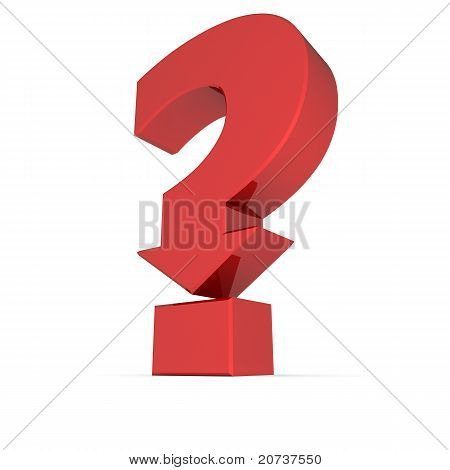 Shiny Red Question Mark Symbol - Arrow Down