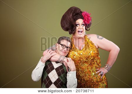 Large Woman Holding Nerd