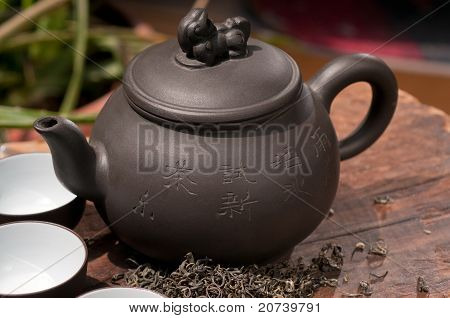 Chinese Green Tea Pot And Cups