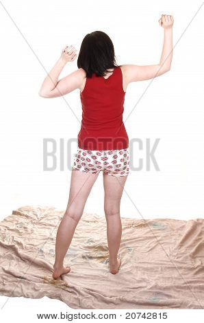 Girl Stretching From Back.