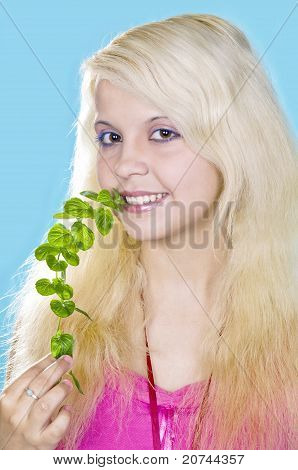 blonde girl holds a mint