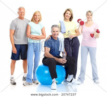 Senior gesund Fitness Menschen. Over white background