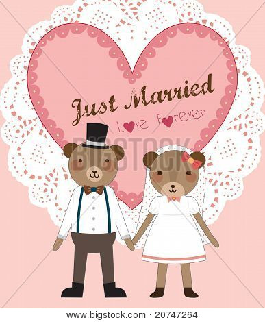 Wedding Couple - Little Cute Bears Couple Standing and Holding Hands. Vector Illustration.