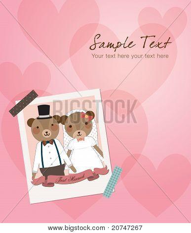 Wedding Invitation - Little Cute Bears Couple Just Married Photo. Vector Illustration.