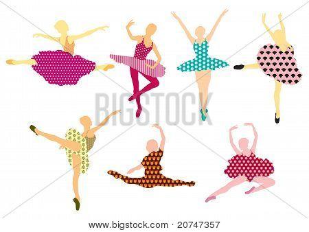 Set of beautiful ballet dancers. Pattern design.