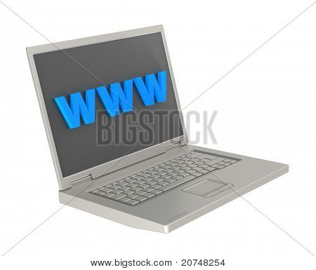 Laptop and WWW word on the screen isolated over white background. Computer generated 3D photo rendering.