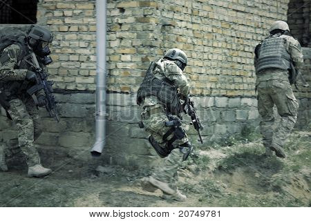 Special forces soldiers  in action