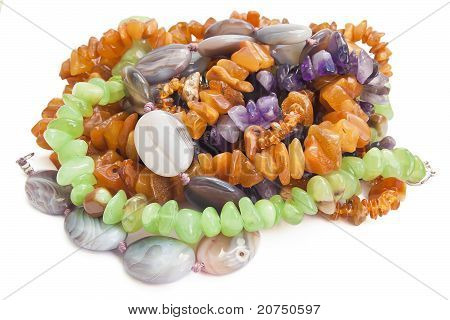 Necklaces From Amber, Agate And Disgraces