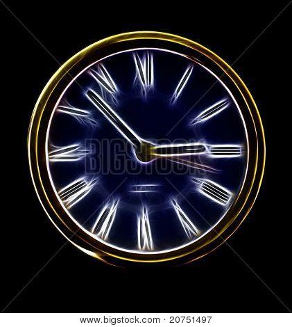 Abstract Artistic Neon Clock Representation