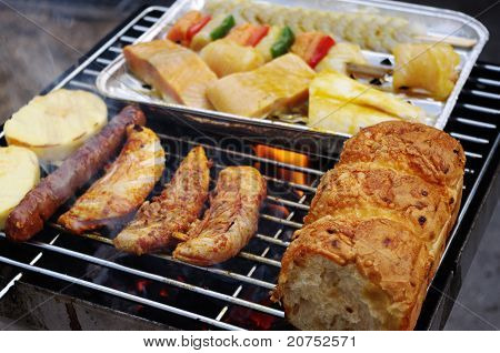Food on barbeque grill
