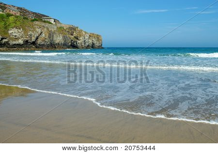 Trevaunance Cove Beach Near St. Agnes, Cornwall Uk.