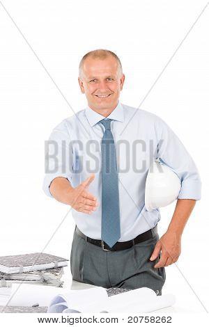 Senior Architect Male Handshake Hold Helmet