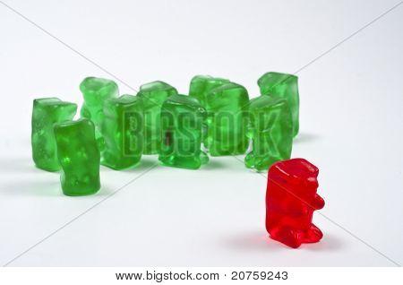 Antisocial Behavior Outcast Red Gummy Bear From Green