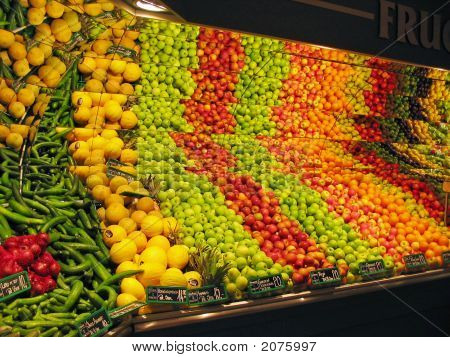 Display Of Fruits And Vegetables In A Supermarket