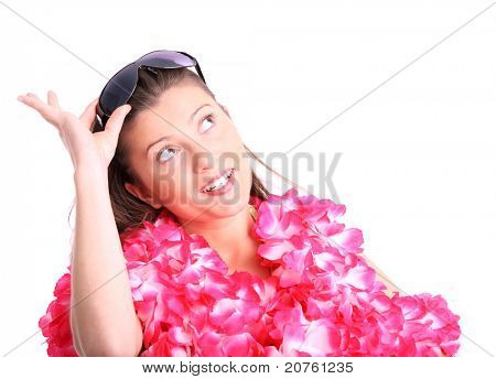 A picture of a happy woman in a hawaiian necklaces dreaming over white background
