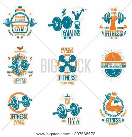 poster of Set of vector cross fit and fitness theme emblems and motivational posters created with dumbbells barbells kettle bells sport equipment and muscular athlete body silhouettes.