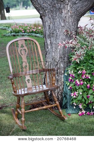 Rocking chair and flowers