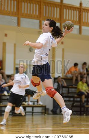 KAPOSVAR, HUNGARY - MAY 22: Szabina Reichert in action at Hungarian Handball National Championship III. match (Kaposvar vs. Balatonboglar) on May 22, 2011 in Kaposvar, Hungary.