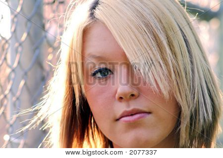 Closeup Serious Young Blond Woman