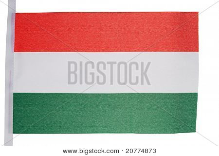 Hungarian flag against a white background