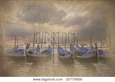 Retro Grunge Photo Of Gondolas Bobbing In Lagoon Outside San Marco Piazza Venice Italy